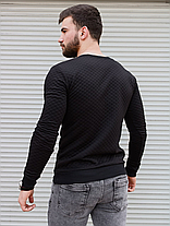 Джемпер чоловічий, стеганний в ромбик, з шкіряними вставками на плечах, фото 3