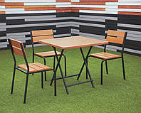 """Комплект меблів """"Ріо Солід Флекс"""" Тік 1 стіл + 3 стільці, фото 1"""