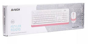Комплект (клавиатура, мышь) беспроводной A4Tech FG1010 White/Pink USB, фото 2