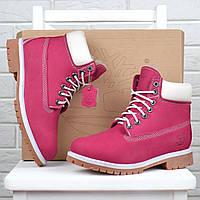 Ботинки зимние кожаные на цигейке Timberland 6 inch Pink Winter Fur, Розовый, 40