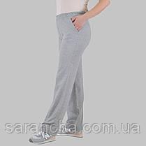 Широкі жіночі прямі світло-сірі брюки з двунитки розмір 50,52,54,56