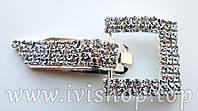 Шубный крючок-застежка 6,0 см, под серебро. квадратная. со стразами