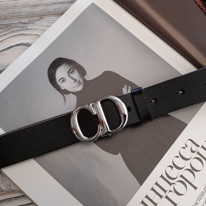 Женский кожаный ремень Диор реплика Черный
