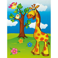 """Розпис по полотну. """"Веселий жирафик"""" 7100/1, 18х24 см"""