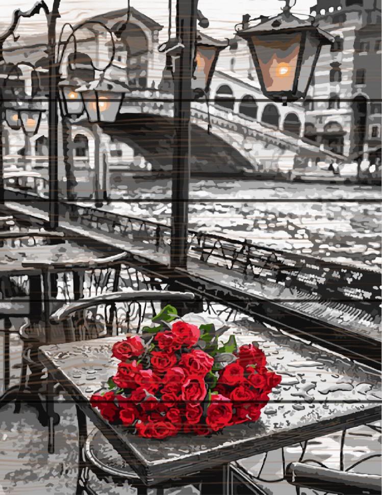"""Картина за номерами на дереві. Rainbow Art """"Троянди під дощем"""" GXT9754-RA"""