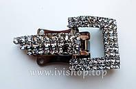 Шубный крючок-застежка 4,0 см, темная. квадратная, со стразами