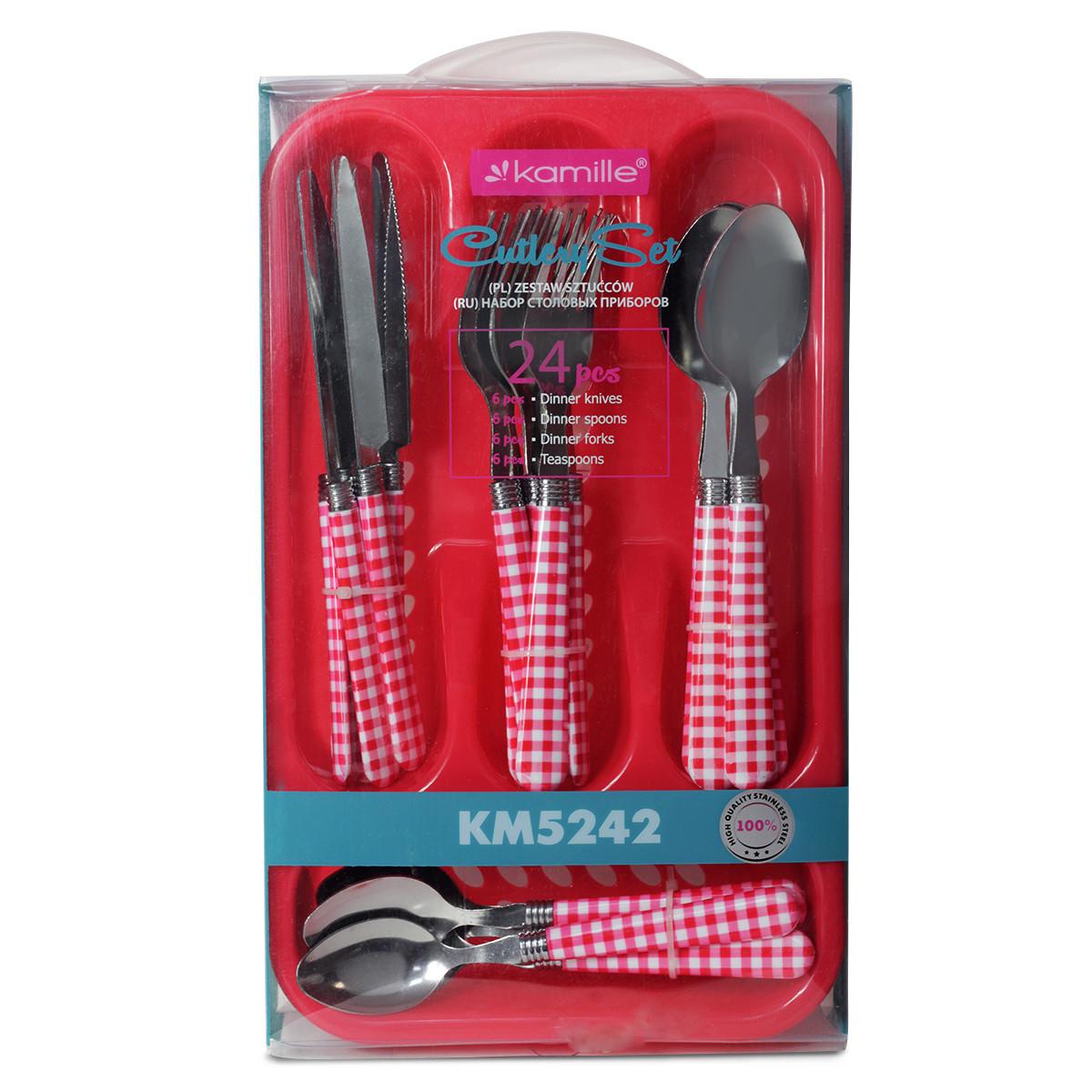 Набір столових приладів Kamille 24 пр. з нержавіючої сталі з пластиковими ручками і підставкою 5242