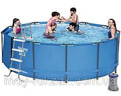 Каркасный бассейн , лестница, фильтр-насос 2006 л/ч, Bestway 5614S, 366*122 см