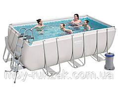 Каркасный бассейн , лестница, фильтр-насос картриджный 2006 л/ч, Bestway 56456, 412*201*122 см