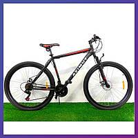 Велосипед горный двухколесный одноподвесный стальной Azimut Energy 26 D 26 дюймов 21 рама черно-красный
