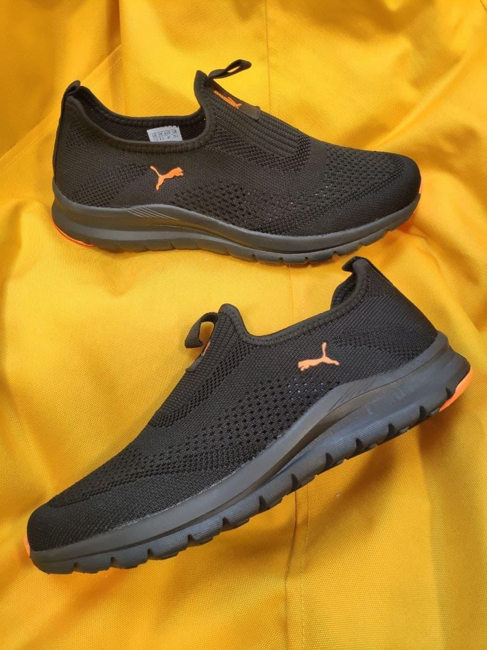 Мужские кроссовки Puma без шнурков (черно-оранжевые) D91 летние легкие спортивные кроссы