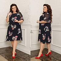 Платье женское большой размер 325 (48-50, 52-54, 56-58) (цветы: черный, фрез, капучино) СП, фото 1