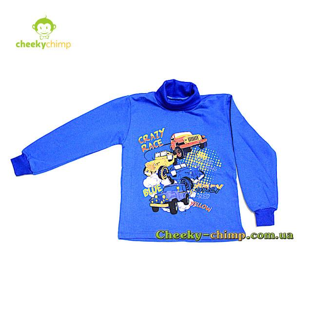 Водолазка с начесом синяя на мальчика Crezy race 1-5 лет