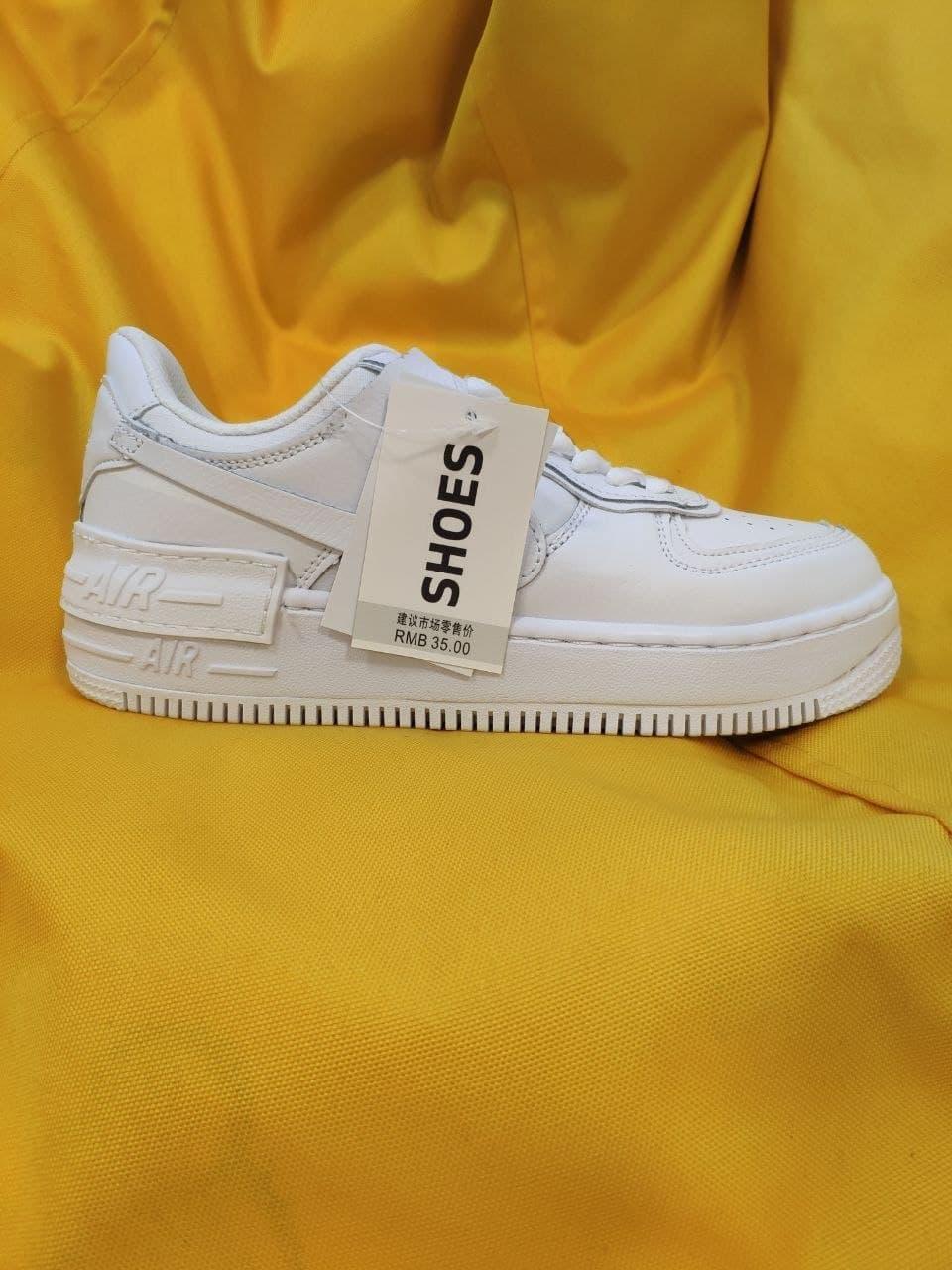 Женские кроссовки Nike Air Force 1 Shadow (белые) D85 качественные кожаные спортивные кроссы