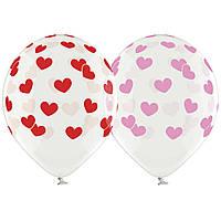"""Гелиевый шар 12"""" (30 см) """"Сердца"""" красные"""