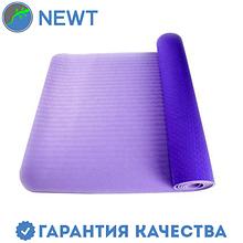 Коврик для фитнеса(йога-мат) с чехлом Newt TPE Eco 6 мм, фиолетовый-сиреневый