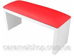 Підлокітник для манікюру підставка для руки дерево + шкірзам КОЛІР червоний + білий