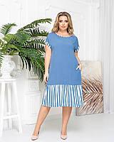 Платье женское летнее большой размер 313 (52 54 56 58) (цвета: джинс) СП