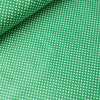 Тканина з густим білим горошком 3 мм на зеленому фоні, ш.160 см, фото 1