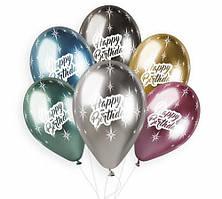 "Гелиевый шар 12"" (30 см) ""Happy Birthday"" хром серебро"