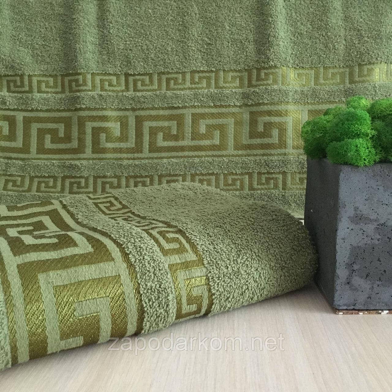 Полотенце банное Греция 140х70см (430г/м2) зеленое
