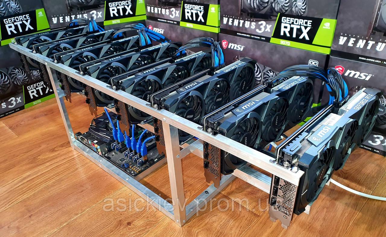 498 mh/s Новая майнинг ферма на видеокартах MSI VENTUS 3X Rtx 3070 8G Oc