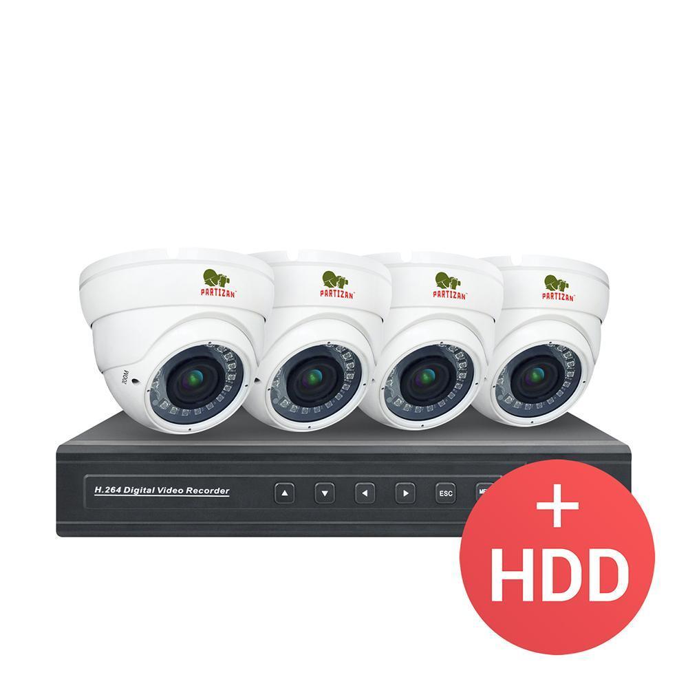 2МП цифровой комплект видеонаблюдения для помещений Partizan PRO IP-14 4xCAM + 1xNVR + HDD