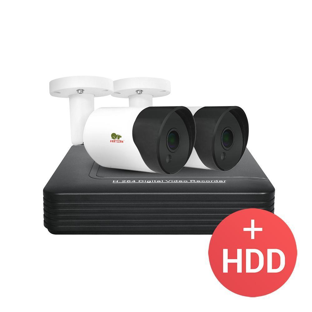 2МП комплект відеоспостереження Partizan AHD-14 2xCAM + 1xDVR + HDD