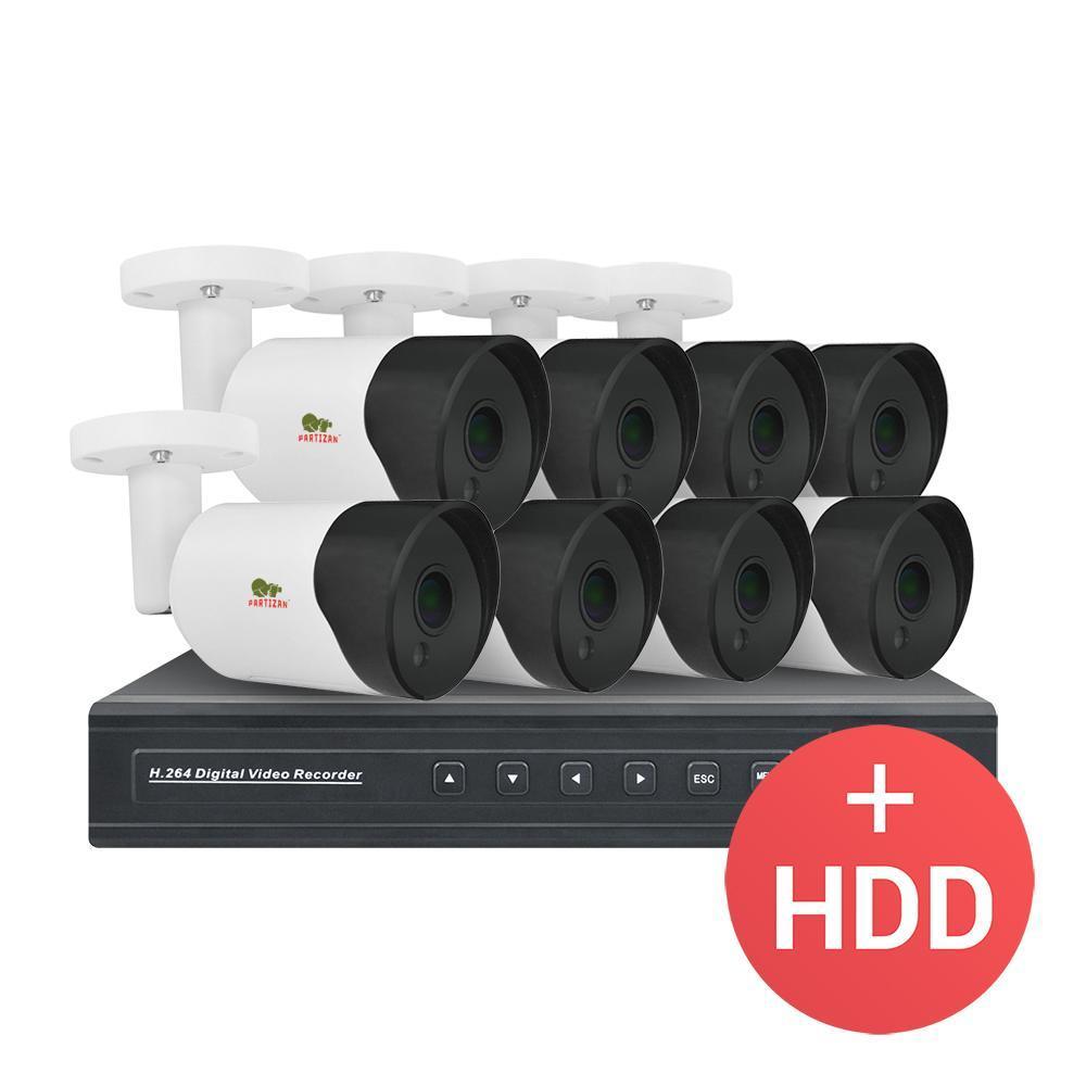 2МП цифровой комплект видеонаблюдения Partizan IP-18 8xCAM + 1xNVR + HDD