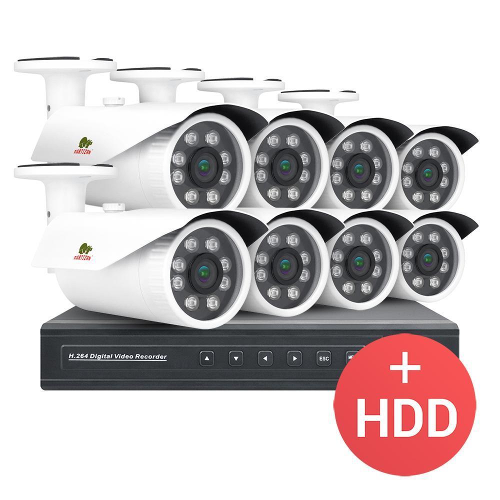 2МП комплект відеоспостереження Partizan PRO AHD-26 8xCAM + 1xDVR + HDD