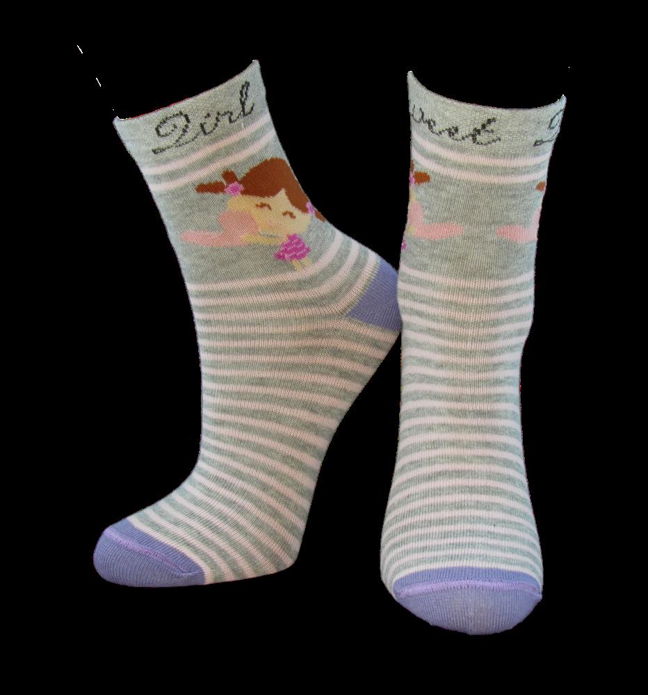 Шкарпетки дитячі Kid Step 809 дівчинка з написом sweet gerl grey