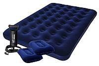 Надувной двуспальный велюр матрас 152*203*22 см, две подушки, насос, BESTWAY 67374, фото 1