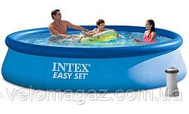 Семейный наливной бассейн 396*84 см + картриджный фильтр-насос, 7290 л, Intex 28142 Easy Set