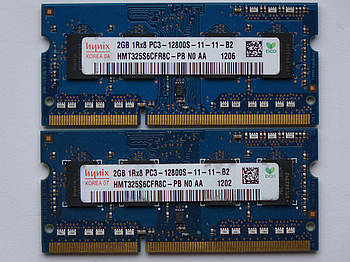 Оперативная память для ноутбука DDR3 SO-DIMM 4GB, 2*2gb (1600MHz, PC3-12800, 1.5v, Hynix) БУ