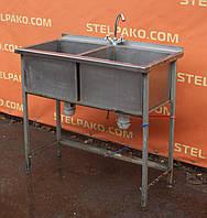 Ванна моечная производственная нерж., 2-х секционная, на металл. основе, 100х50х85 см., Б/у