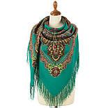 Царевна лягушка 1447-6, павлопосадский платок шерстяной  с шелковой бахромой, фото 3