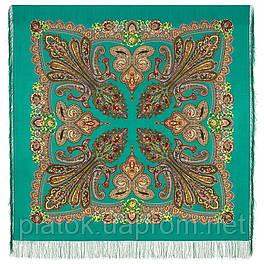 Царевна лягушка 1447-6, павлопосадский платок шерстяной  с шелковой бахромой