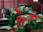 Белье постельное бязь двухспальный комплект 175х215 см зеленый с цветами, фото 2