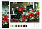 Белье постельное бязь двухспальный комплект 175х215 см зеленый с цветами, фото 3
