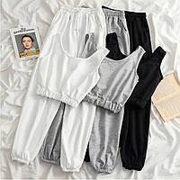 Женский прогулочный спортивный костюм двунить топ+ брюки Цвета: черный, белый, серый Размеры:42-44;44-46