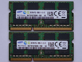 Оперативная память для ноутбука DDR3 SO-DIMM 16GB, 2*8gb (1600MHz, PC3L-12800, 1.35v, Samsung) БУ