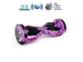 Гироскутер Smart Balance 8 дюймів Фіолетовий космос (сумка, колонка, підсвічування, самобаланс)