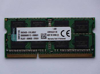 Оперативная память для ноутбука DDR3 SO-DIMM 8GB (1600MHz, PC3L-12800, 1.35v, Kingston) БУ
