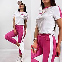 Женский прогулочный спортивный костюм двунить футболка + брюки Размеры: 42-44; 44-46; 48-50.