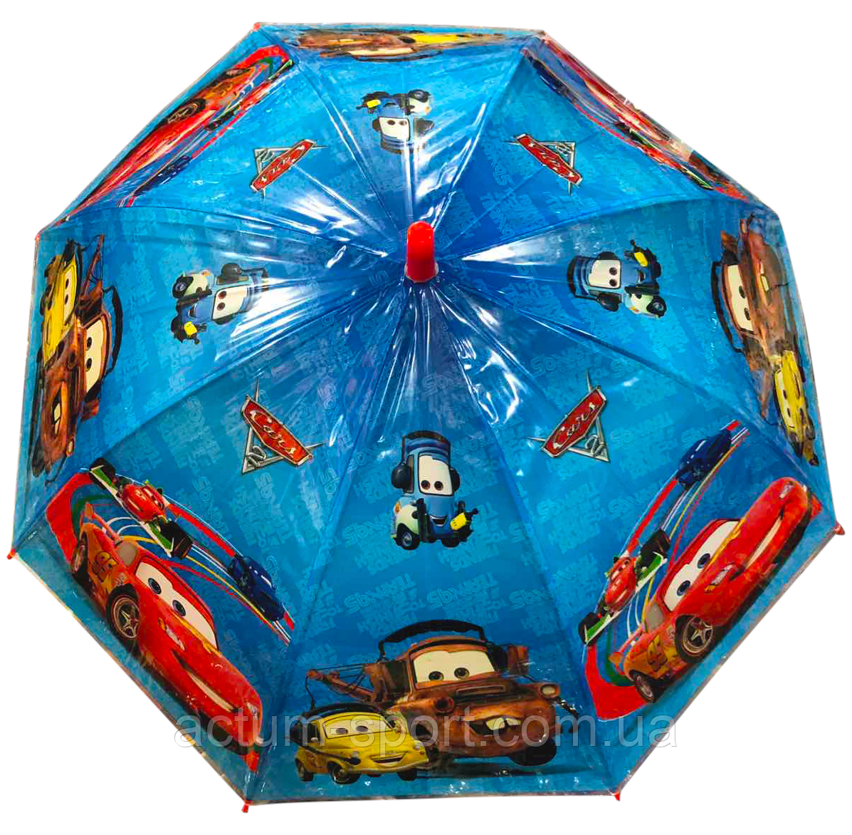 """Зонт детский трость для мальчиков """"Молния Маквин Disney 2"""" со свистком полуавтомат"""