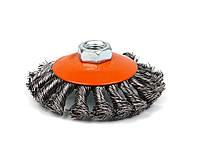 Щетка Polax конусная по металлу для УШМ (болгарки) пучки витой плетеной стальной проволоки М14 100 мм (54-164)