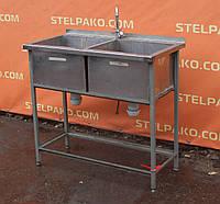 Мойка производственная 2-секционная, на металл. основе 850х500х1000 мм., Б/у