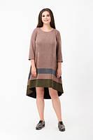 Платье из эко-замши с удлинненым подолом, большие размеры, фото 1