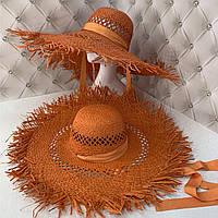 Широкополая соломенная шляпа с посатаными полями и завязками оранжевая