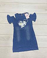 Платье для девочек (Джинсовый трикотаж). 116/122- 140/146 рост.
